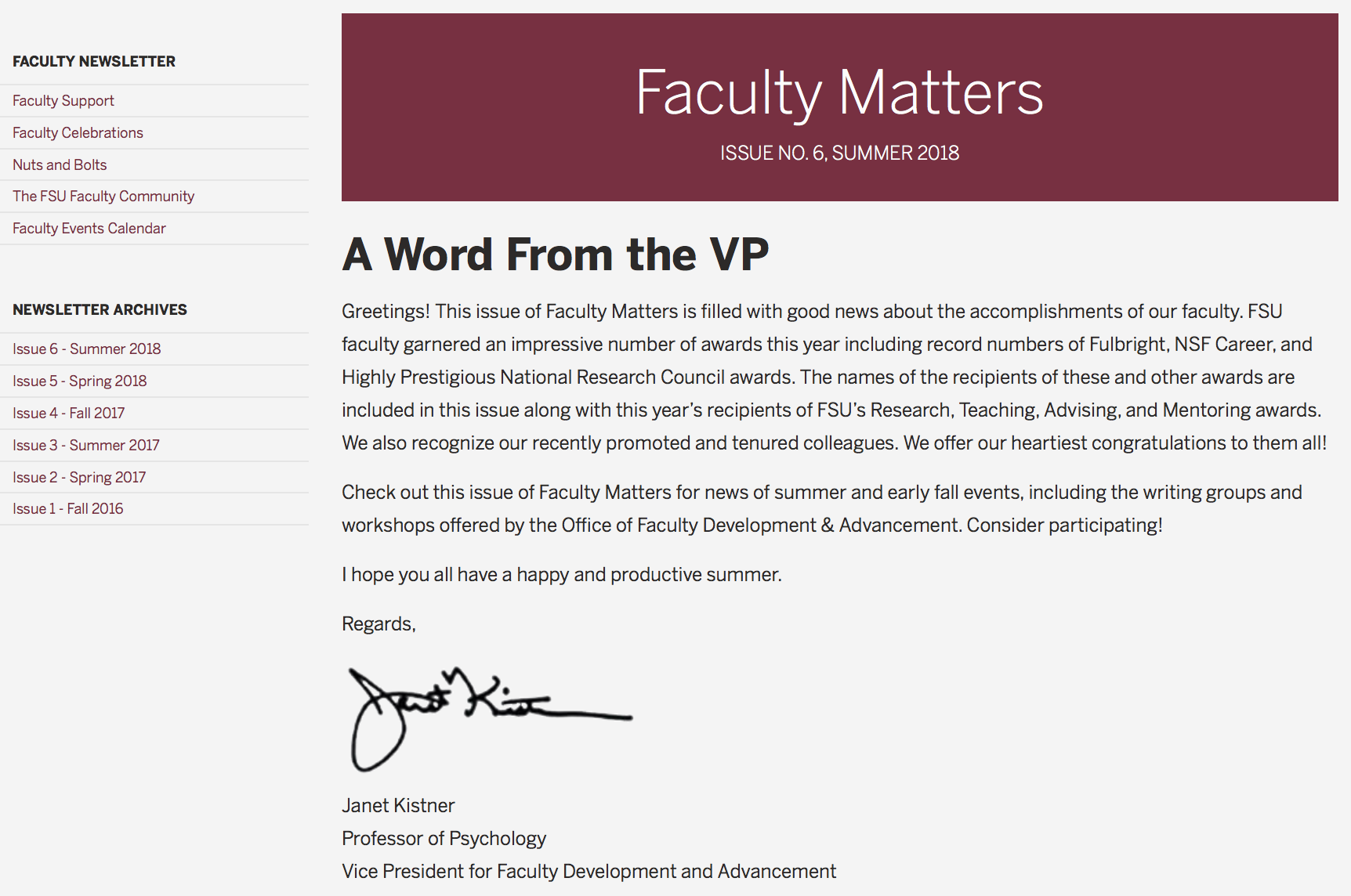 Screenshot of Faculty Matters Issue 6